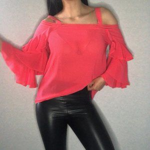 MARCIANO coral blouse with ruffle sleeve detail